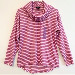 Jones New York Soft French Terry Pink White Top Sm